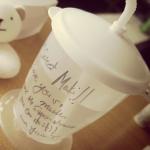 田丸サン出産準備>>入院グッズ☆シンプルな『ストローマグ/コップ』はコレ>>英語のメッセージが素敵っ♬